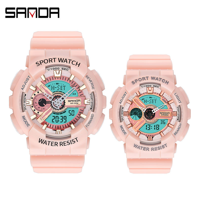 Sanda 299-292 Latest Design Analogue Digital Couple Watches LED Functional Water Resistant Custom Digital Sport Watches