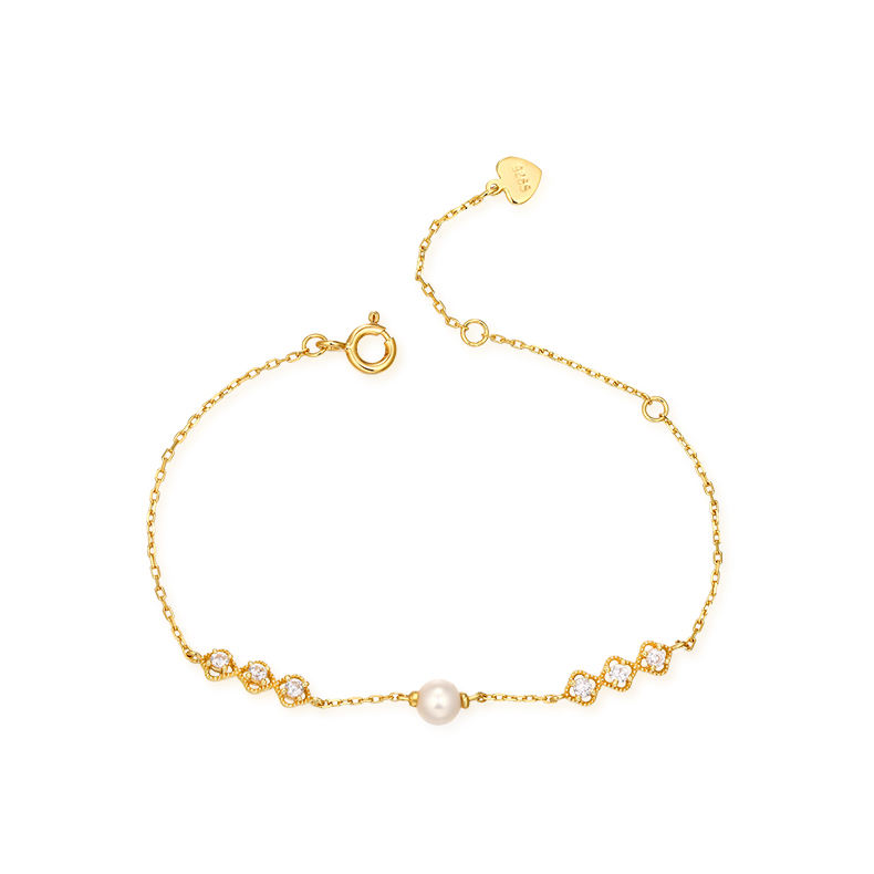 Wholesale bling jewelry 14K gold plated 925 Sterling silver charm bracelet with pearl
