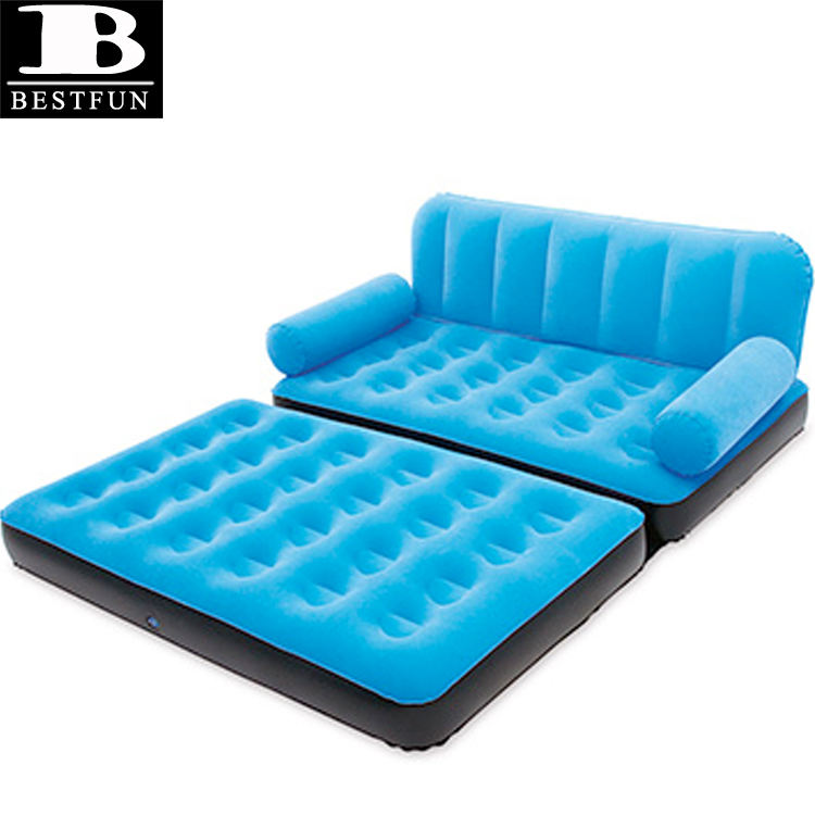 Inflatable Double Sofa Air Bed Couch Blow Up Furniture with Pump Flocking pull out chair bed for camping