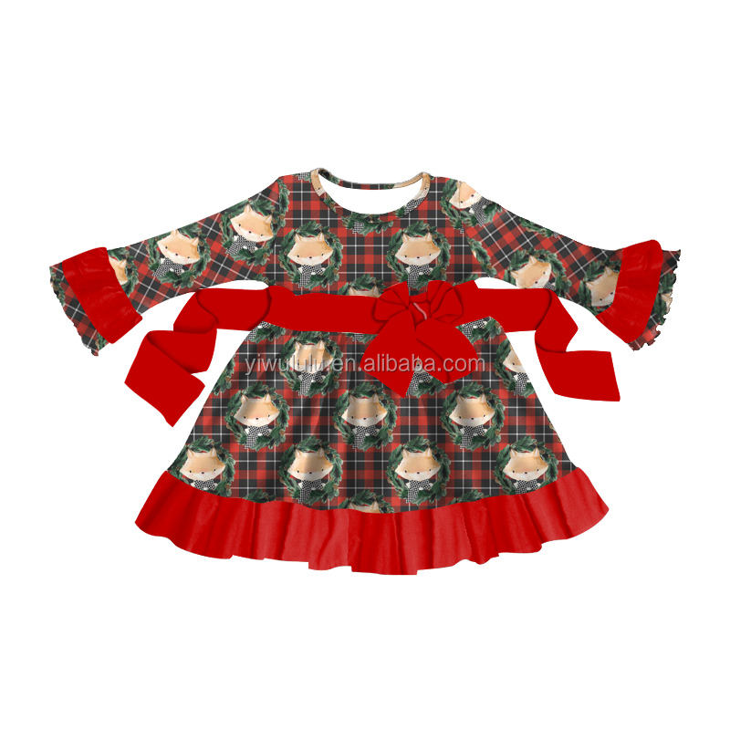 Long Sleeve Milk Silk Children Girls Skirts Fox Plaid Baby Dress Princess