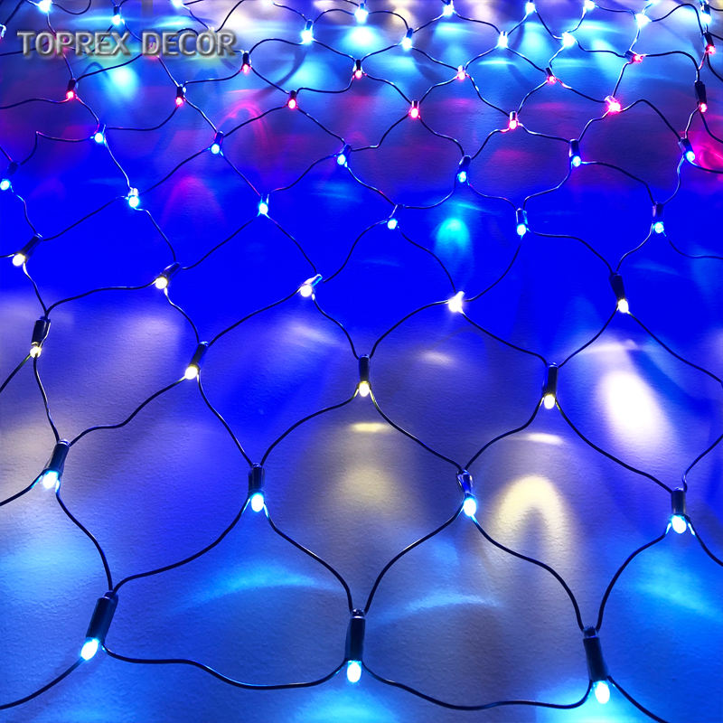 TOPREX DECOR 2019 Large RGB color fancy led fishing net light decorate ceiling net lights outdoor