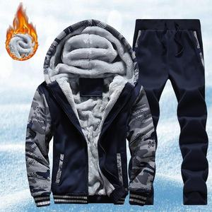 Nouveaux hommes survêtement ensemble hiver polaire capuche veste + pantalon sweats 2 pièces ensemble sweats à capuche sport costume manteau