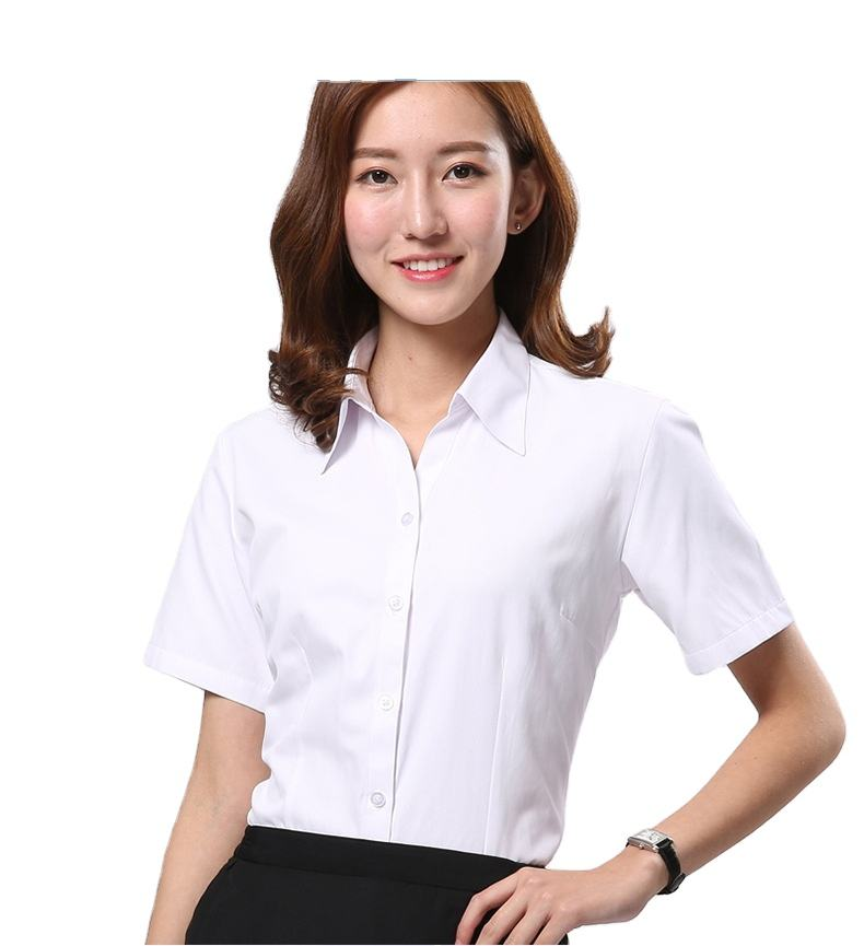 Women's short sleeve shirt processing custom work clothes embroidered white shirt LOGO business shirt