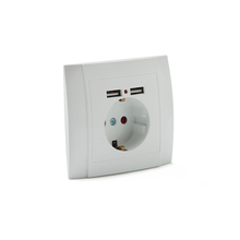 OUCHI Wholesale ABS Panel Flush Mount Wall Outlet Socket With Usb Ports