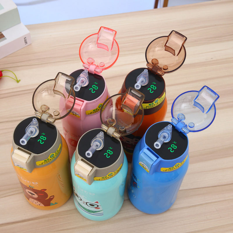 ST cartoon alce children led temperature display thermos double wall vacuum cup stainless steel smart straw water bottle kids
