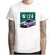 Wholesale W124 Class Men T Shirts Round Collar Tops Short Sleeve O-neck Cotton Clothes Youth Car Styling white T-shirt