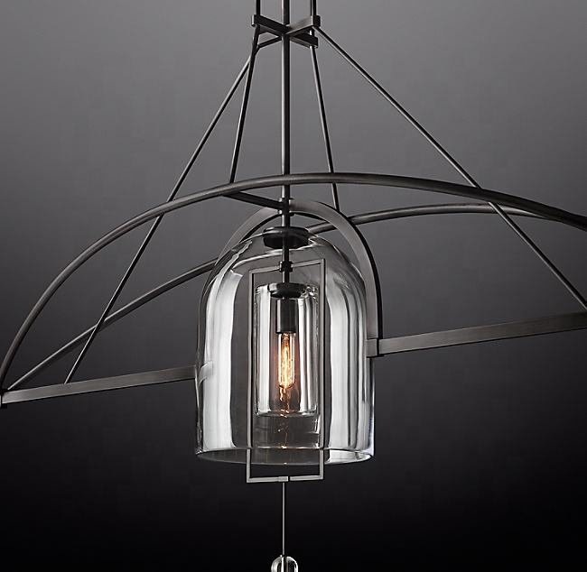 "Top Popular Fixture Metal Lighting Hotel Restaurant Ceiling Antique Glass Hanging Light Fulcrum Linear Chandelier 85""CZ2824L/L3"