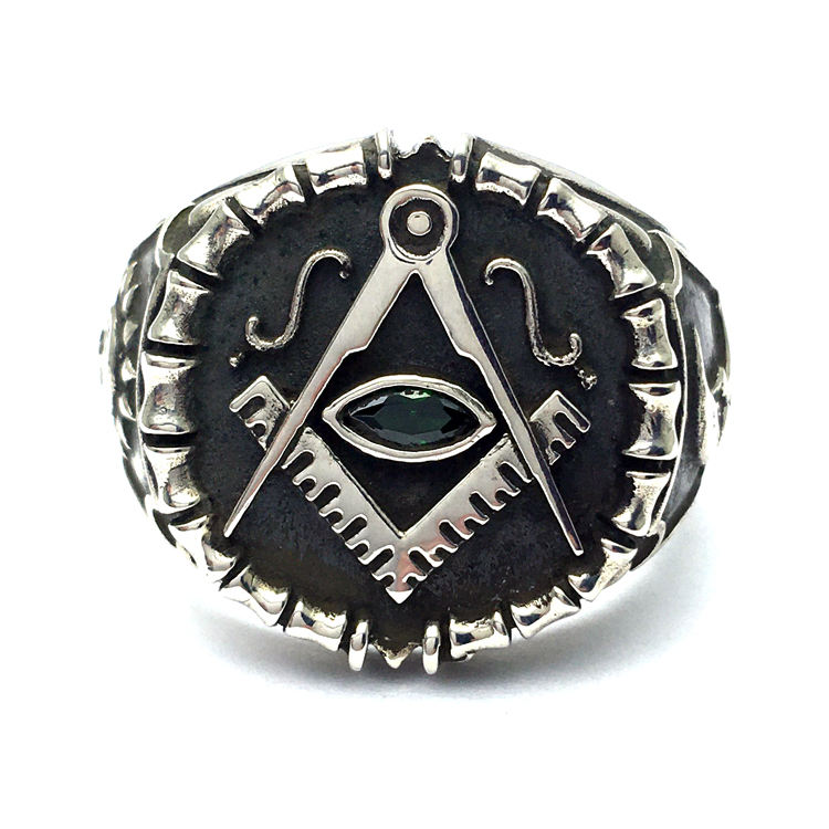 Vintage Ring Men Real Pure 925 Sterling Silver Jewelry religious masonic rings For Mens Punk Rock Fashion