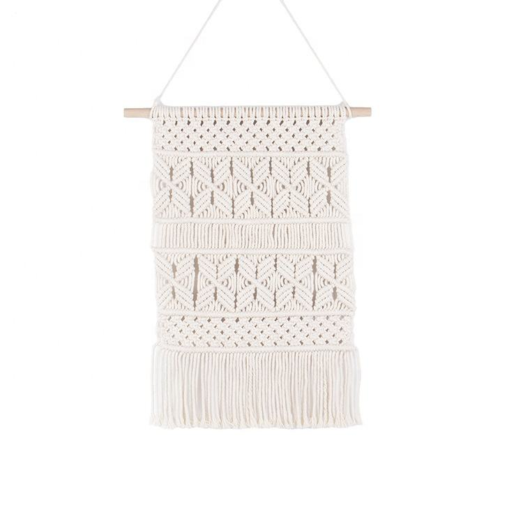 Rectangular hand-made tassel woven tapestry wall decoration