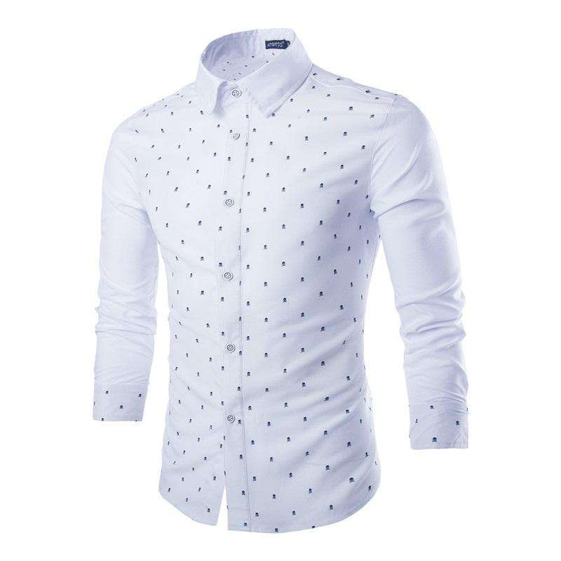 Wholesale Clothing China High Quality Latest Designs Long Sleeve Dot Printed Formal White Dress Shirts For Men