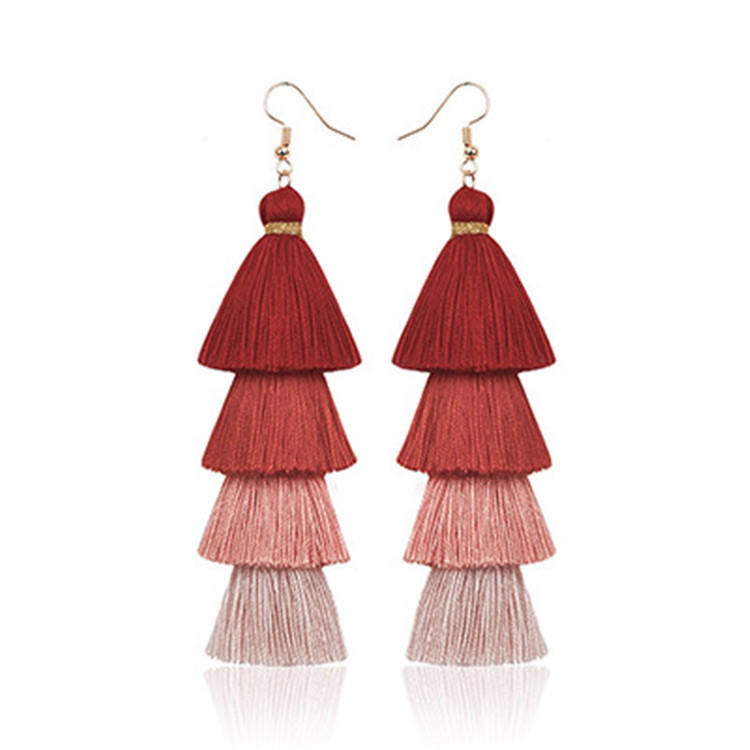 Quality Layered Silk Long Handmade Colorful Tassel Drop Earrings Trendy Fine Jewelry
