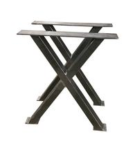 Raw Steel Heavy Duty  Industrial Metal Steel Base Metal X Frame Coffee Dining Table Legs Stand