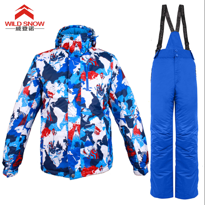 2019 WILD SNOW High quality Waterproof Windproof outdoor skiing clothes Snowboard Colorful Printed Ski Jacket and Pants one set