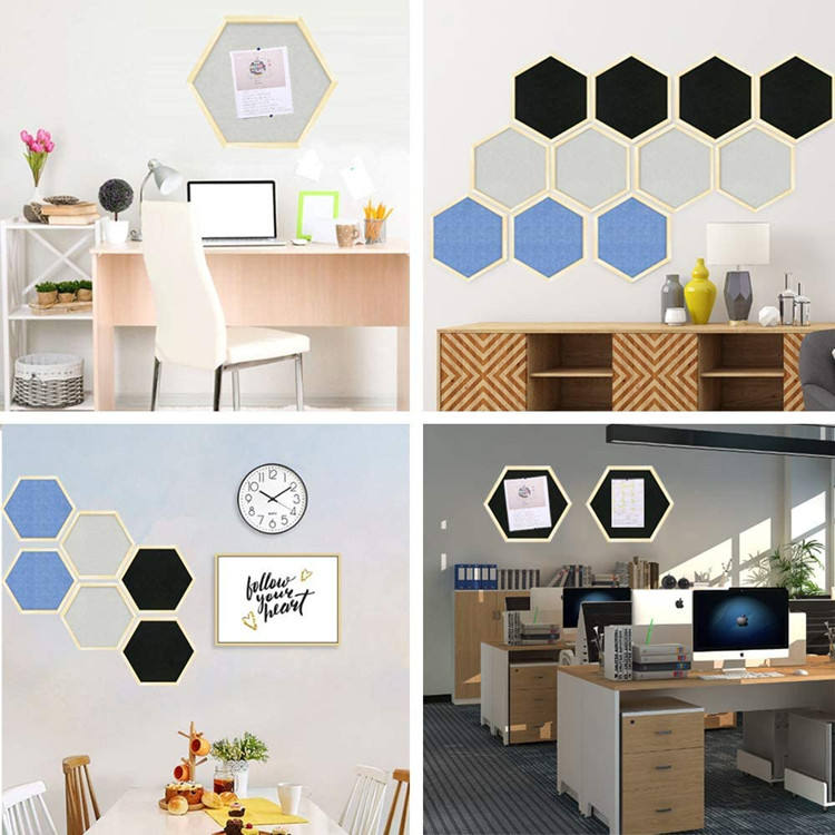 Wall Decorative Pin Notice Memo Cork Board Wood Frames Felt Hexagon Bulletin Board For Home Decorations