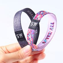 Factory Custom Polyester Elastic Wristbands Bracelet With Woven Label For Promotion