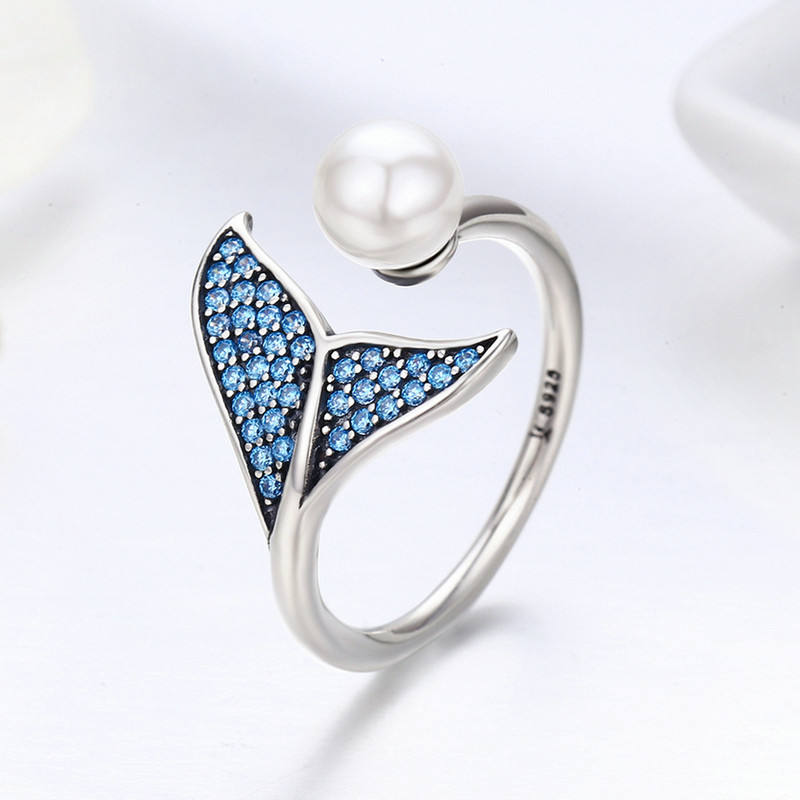 2020 Best selling Women gold plated jewelry 925 silver cz adjustable ring mermaid ring for gift