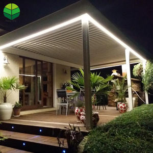 China Most Popular outdoor waterproof garden aluminum pergola with glass sliding doors and LED light