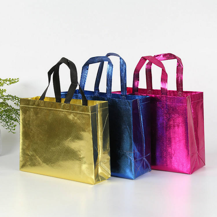 Non-woven Glossy Reusable Grocery Tote Handle Gift Bag Stylish Promotional Shopping Bag For Party Event Wedding Birthday