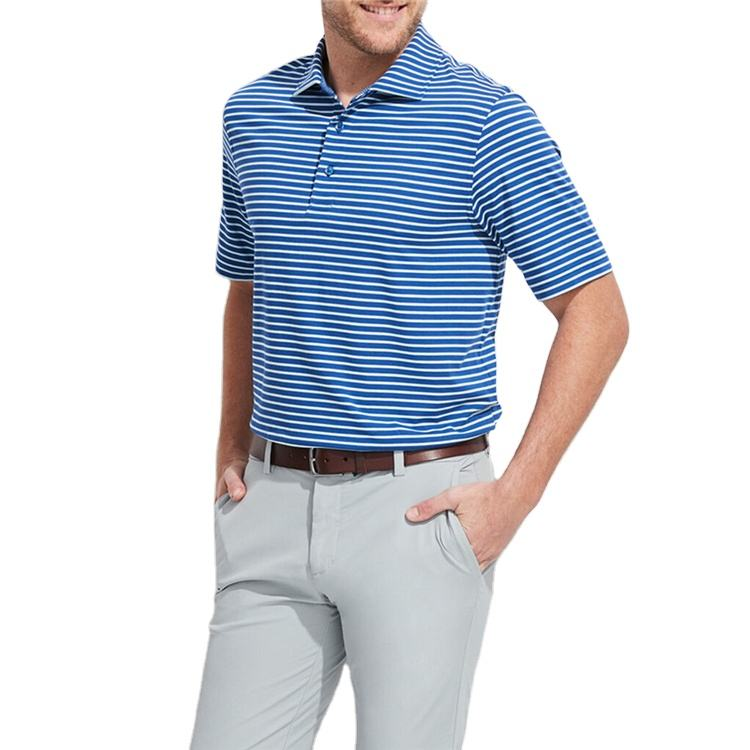 Custom Mens Polyester Spandex Golf Slim Fit Performance Jersey Stripe Polo Shirt