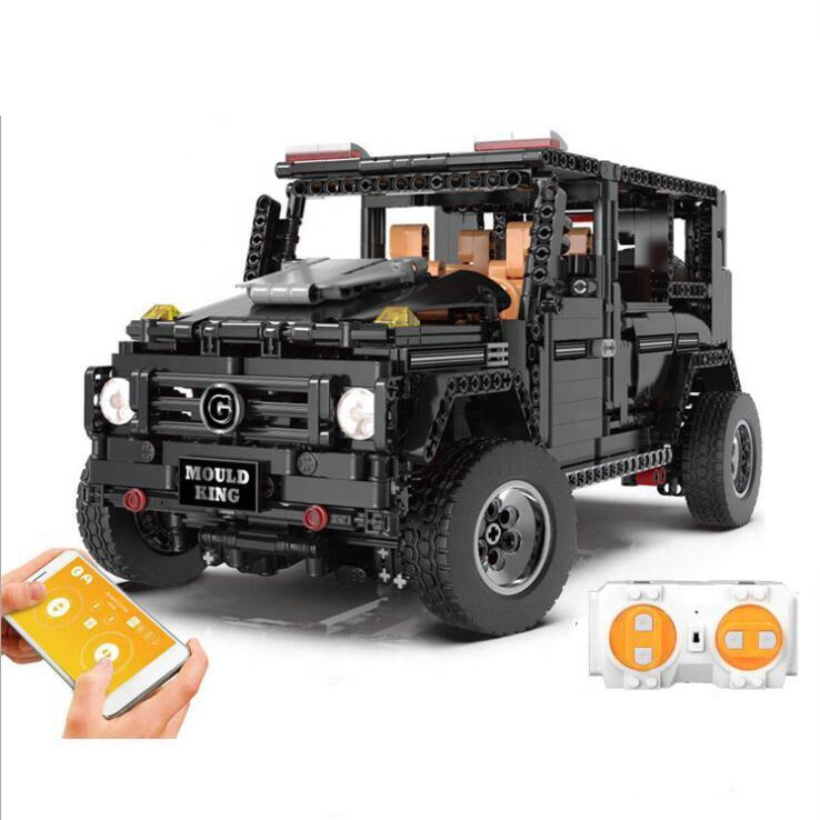 1641PCS Plastic 2.4G APP Mobile Phone Remote Control Building Block RC Models Off Road Vehicle G65 Car With Led Light Kids Toys