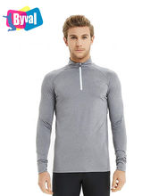 Byval Men's Long Sleeve Sport Honeycomb Active Sports Shirts 1/4 Zip Jersey Tops Gym Pullover Shirt
