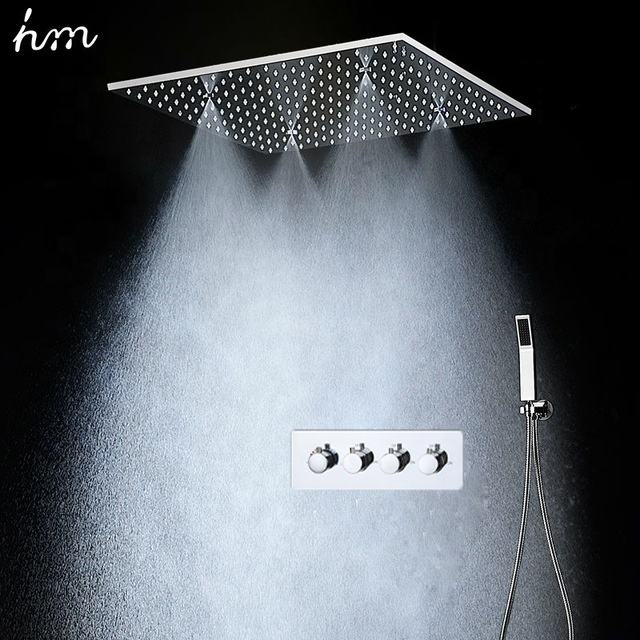 Modern Bathroom Shower Set 3 Functions Thermostatic Mixer Set Ceiling Mounted Rainfall Mist Shower Head