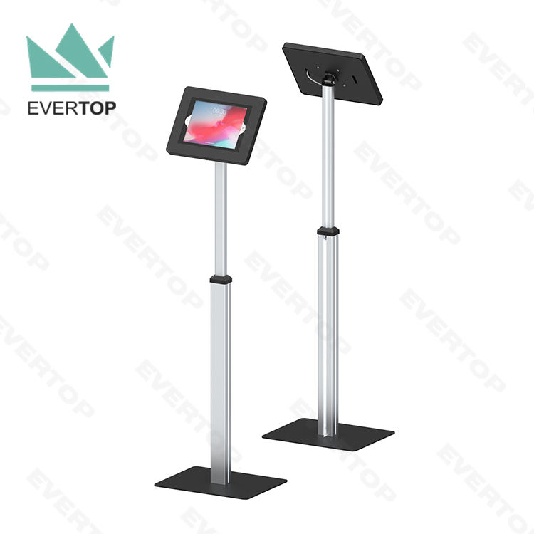 "LSF03-C 10"" Tilt Rotary Telescopic Floor Tablet PC Kiosk Secure Free Standing Android Trade Show Kiosk Touch Screen Stand w lock"