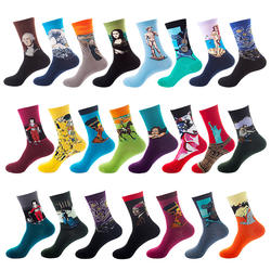 Custom woven fashion cotton popular oil painting mens funny socks