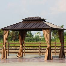 Aluminium Gazebo Solid Roof Outdoor Garden Gazebos Galvanized Double Metal Roof Gazebo 3*3.65M Luxury Hardtop Outdoor Furniture
