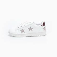 PU upper with shining star decoration fashion style white color Casual Sport children Shoes