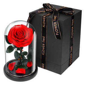 china factory custom cheap price preserved enteral roses flower in glass dome