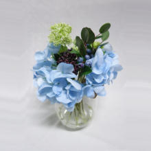 "13""HYDRANGEA, FENNEL, BERRY AND EUCALYPTUS IN GRASS VASE W ACRYLIC WATER S #water illusion flower#artificial flower arrangement"