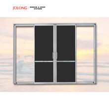 Aluminum double glass sliding door with flyscreen AS2047