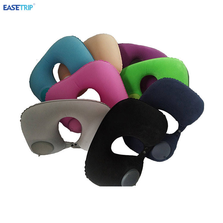 Good Design Adult Car Seat Neck Automatic Inflatable Airline Travel Sleeping Pillow with Button