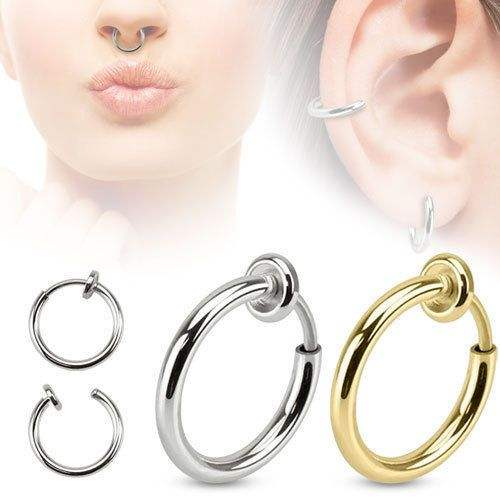 Wholesale Stainless Steel Spring Action Hoop Fakes Septum Clip On Nose Ring Lips Cuff Earrings Non Pierced Piercing Jewelry