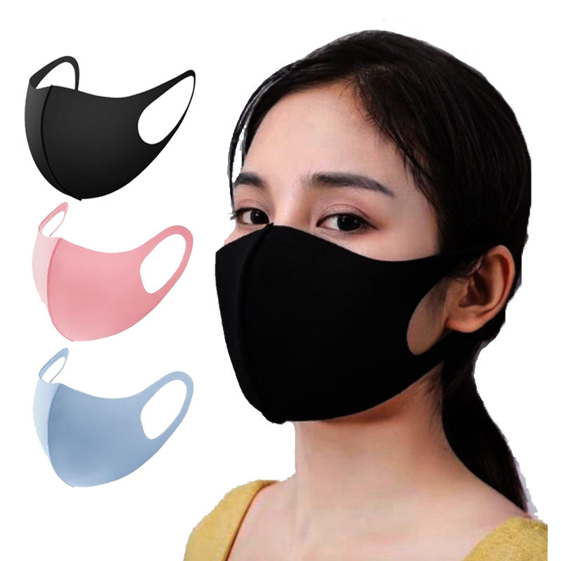 wholesale washable dust-proof Reusable ice silk fashion cotton face maskes PM2.5 custom LOGO cool party Breathable facemasks