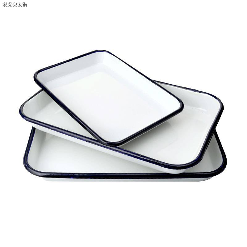 Enamel Tray CHL Wholesales Vintage Rectangle Custom Color Logo Printing Enamel Baking Roaster Serving Non Stick Pan Plate Rolling Tray