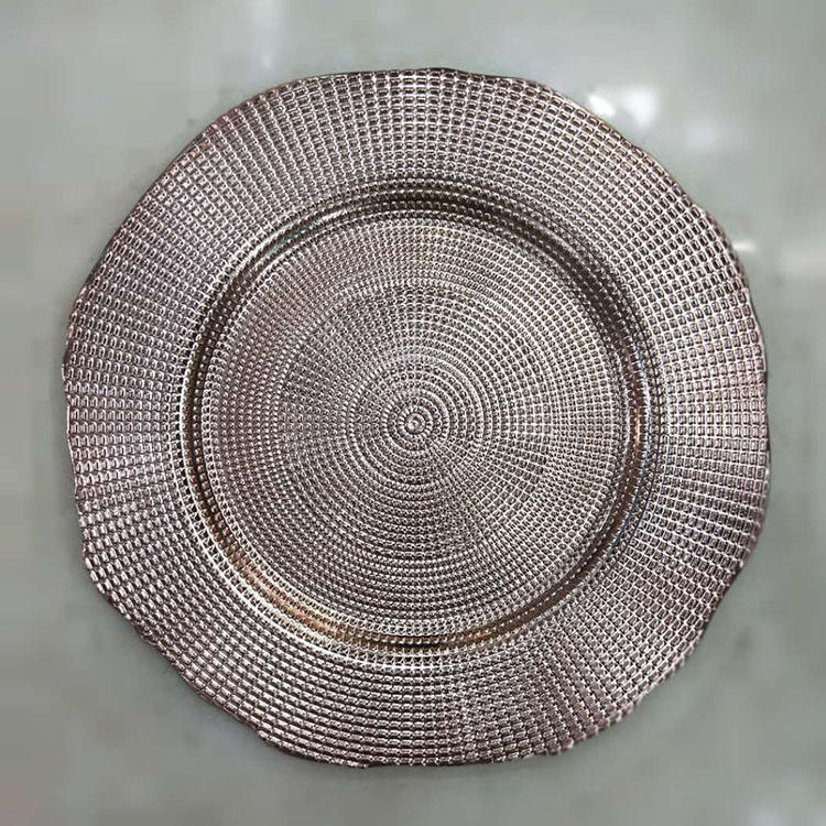 13inch plastic rose gold charger plates