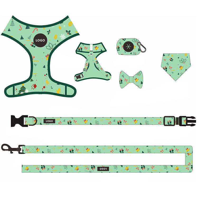Personalized custom adjustable dog collar bow leash harness and bandana sets reversible dog harness cat pet dog harness with bow