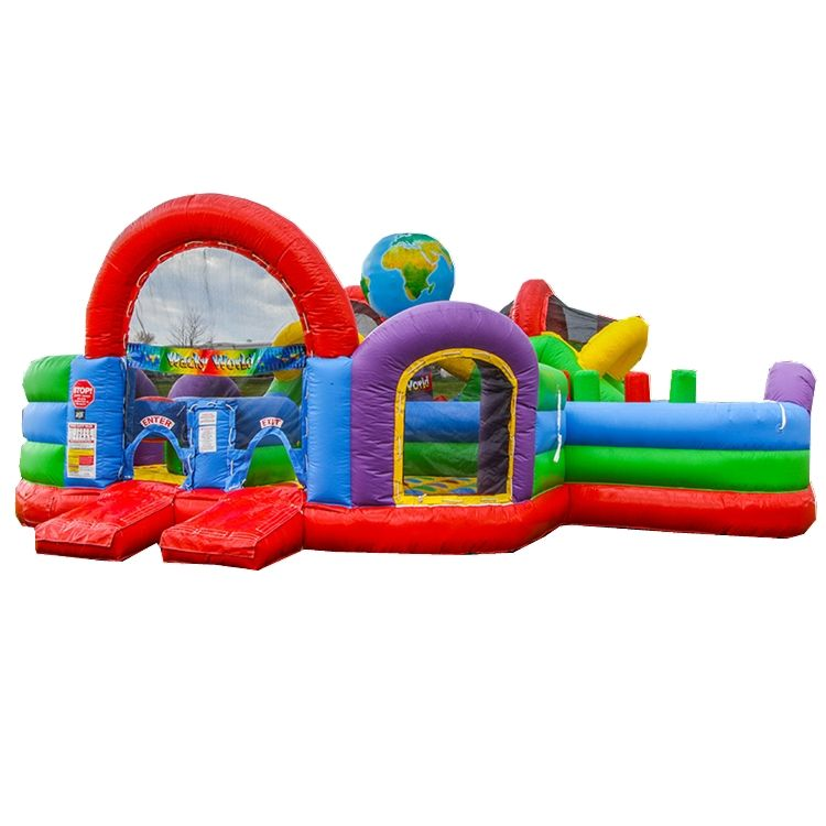 Inflatable wacky world bounce jump bouncy house sport obstacle game with slide for sale