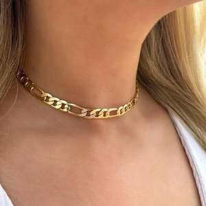 Stainless Steel stainless steel figaro chain necklace Cuban Chain Necklace Choker Chunky gold plated figaro chain