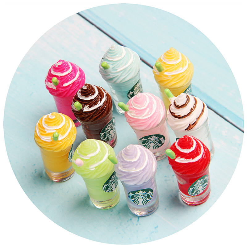 Free Shipping Artificial Sweet Summer Cool Ice Cream Coffee Cup With Straw Flatback Crafts Decorative Supplies Resin Ornament