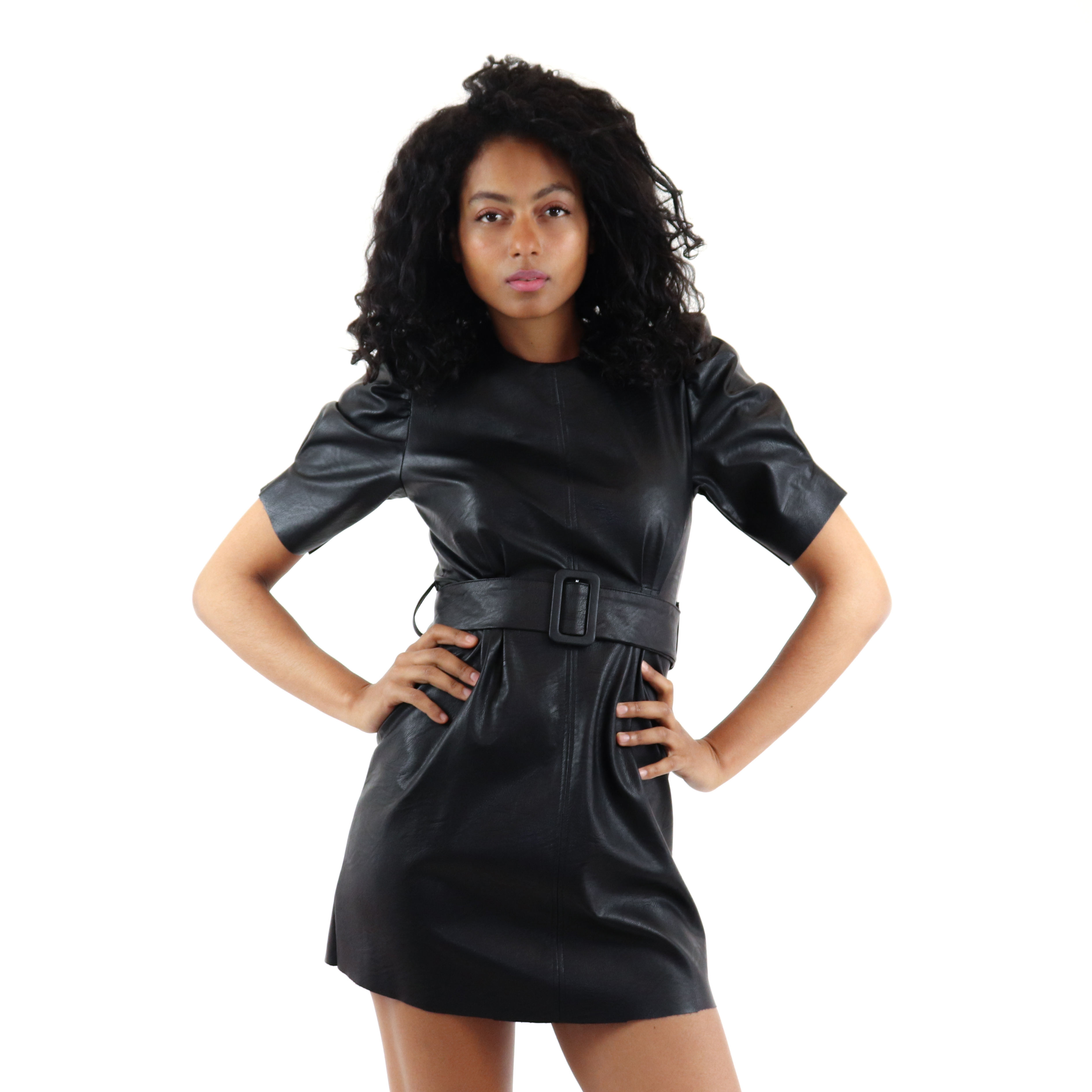 Ladies casual black leather dress with belt design
