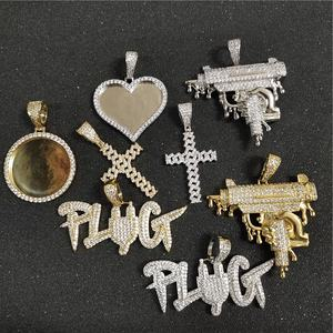 Hip Hop Rap Jewelry CZ Iced Out Shining Pistol Cross Photo Frame Custom Bubble Letter Pendant Necklace