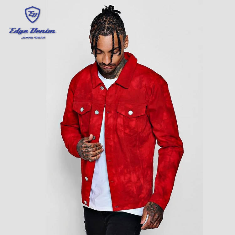 Fashion long sleeve red colar tie dye denim jacket for men