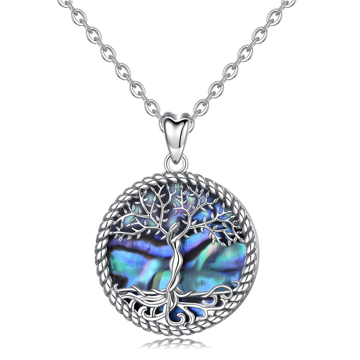 925 sterling silver abalone white mother of pearl tree of life pendant necklace