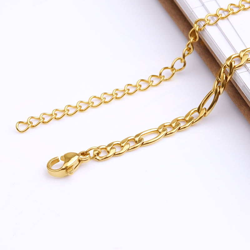 Anklet Bracelet Wholesale Cuban Link Stainless Steel Gold Plated Figaro Chain Anklet Bracelet