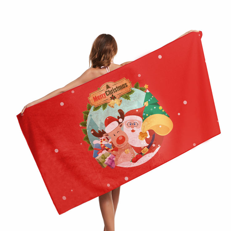 Hot Sale Custom Microfiber Christmas Printed Tapestry Towel Microfibre Double Sided Fleece Beach towel With Logo