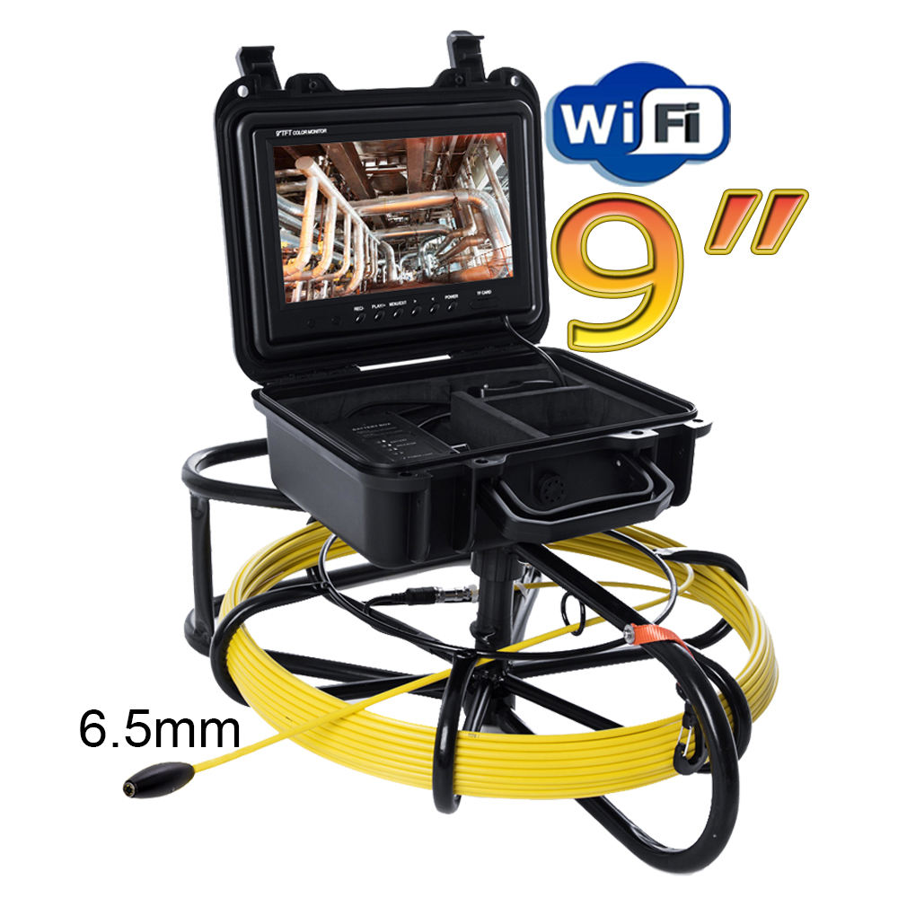 9 inch 6.5mm lens TFT monitor Portable Wireless Drain Pipe Inspection Camera for sewer and industrial
