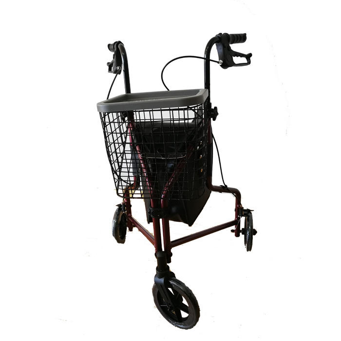 Three Wheel Walker Steel Foldable Tri-Wheeled Walkers Adjustable Rollator for elderly